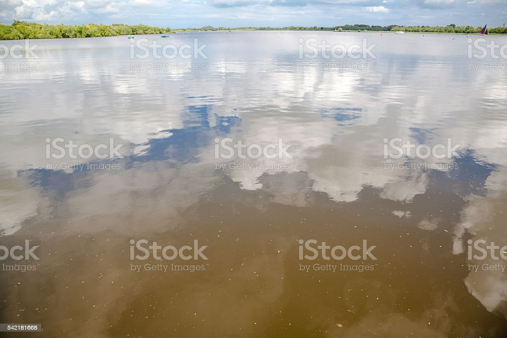 cloudscape and reflections in Barton Broad Norfolk Broads England stock photo