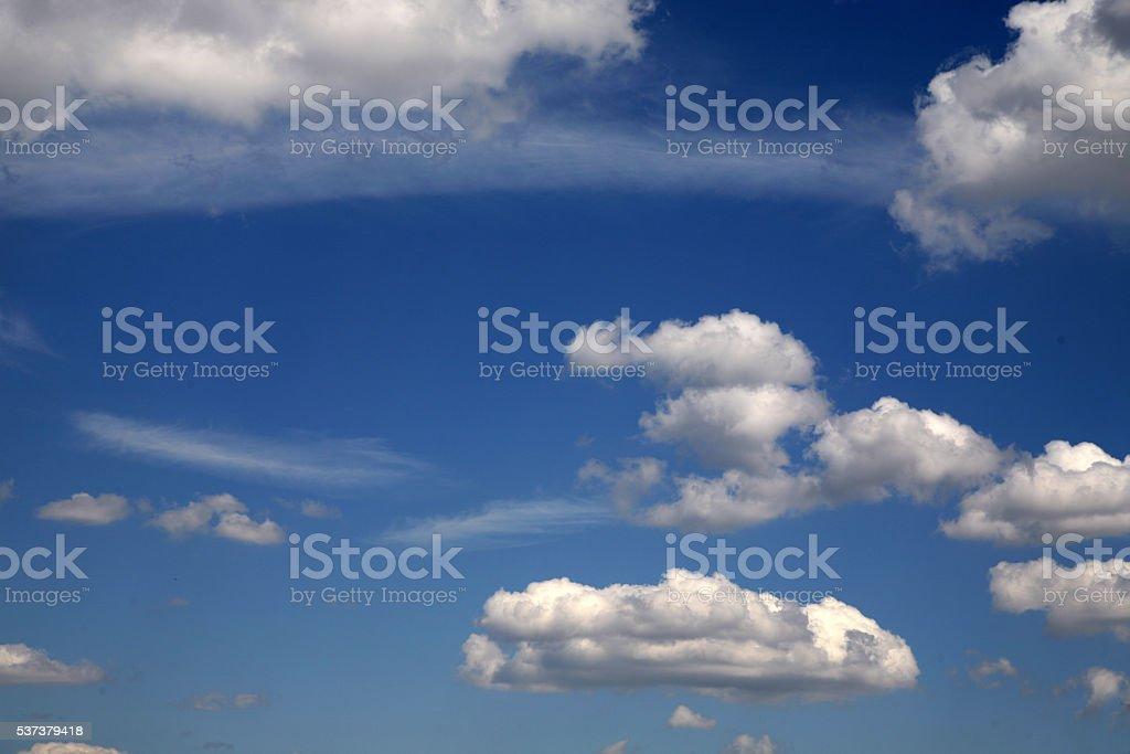 Cloudscape in blue summer sky stock photo