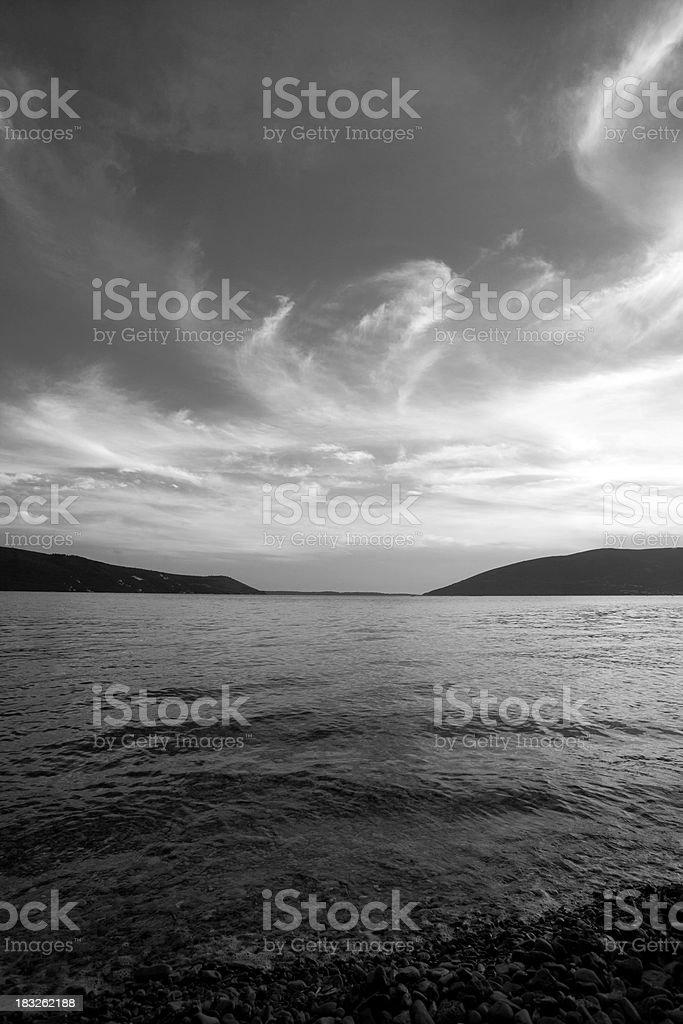 Panorama di nuvole in BW foto stock royalty-free