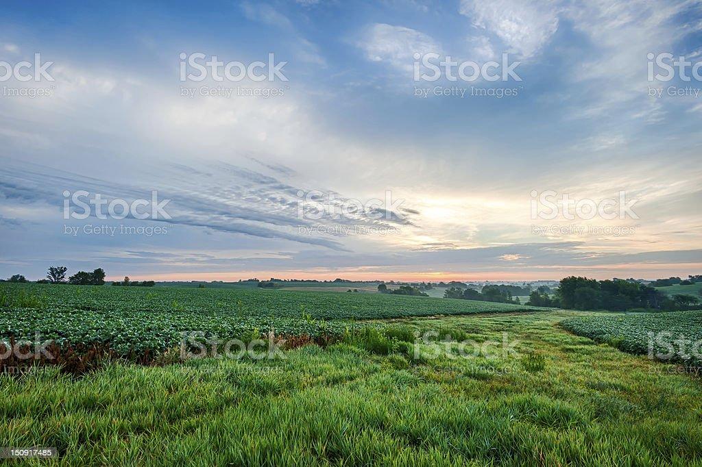 Cloudscape over farm ground stock photo