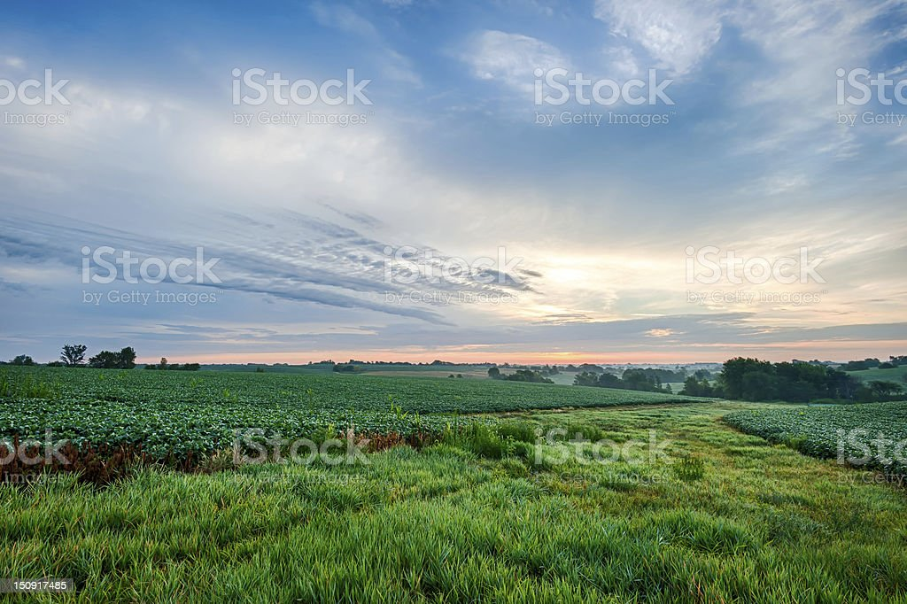 Cloudscape over farm ground stock photo