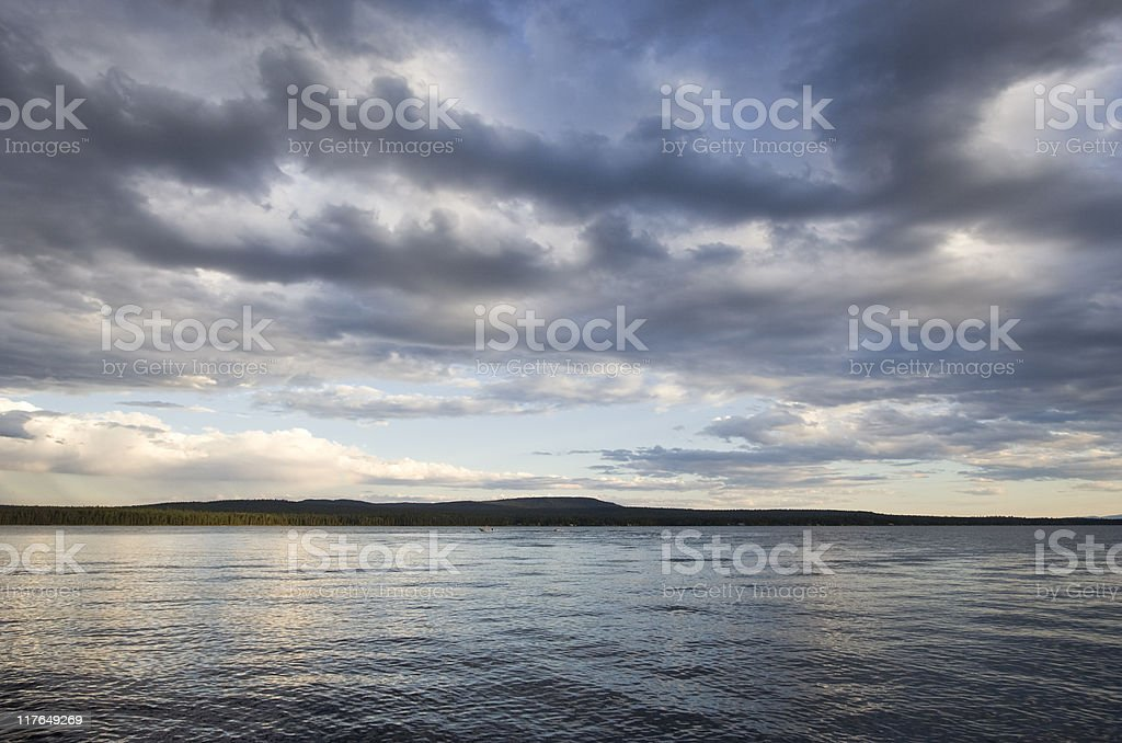 Cloudscape over Green Lake royalty-free stock photo