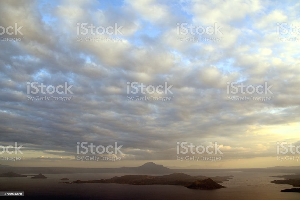 Cloudscape over Lake Taal, Luzon Philippines stock photo