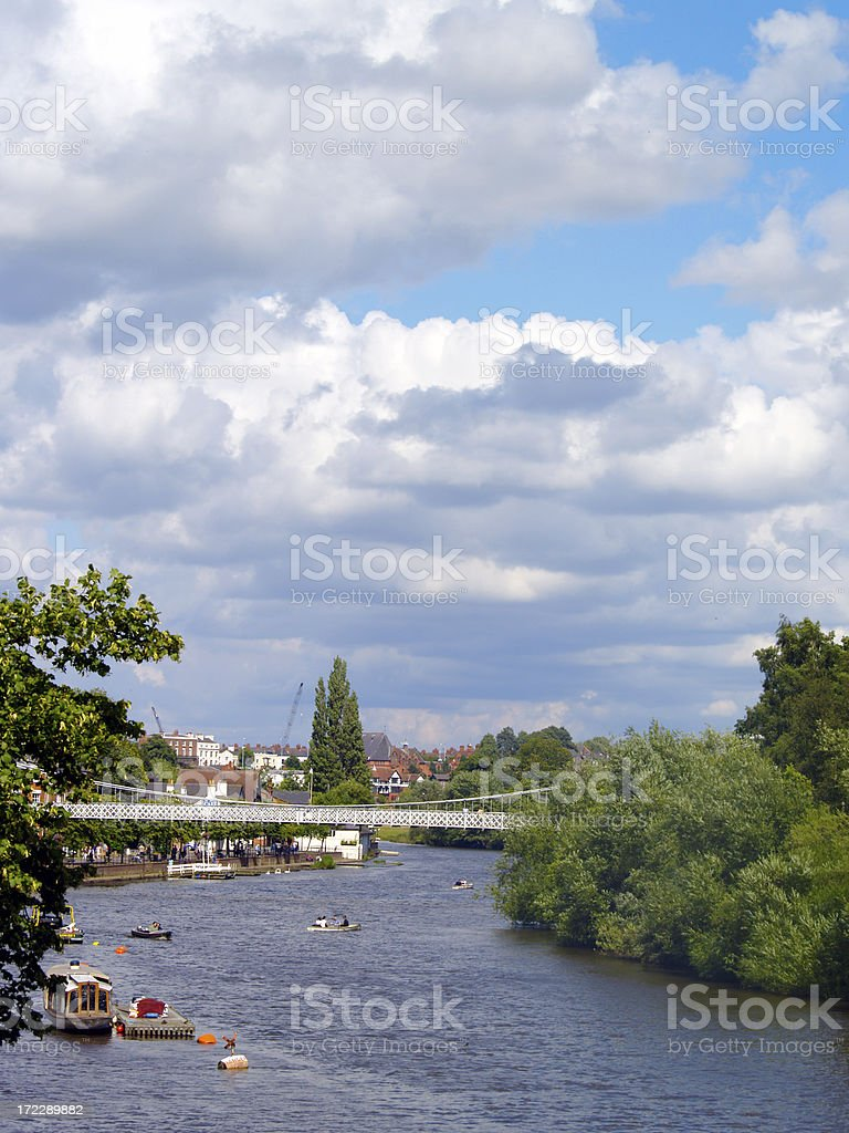 Cloudscape over River Dee at Chester royalty-free stock photo