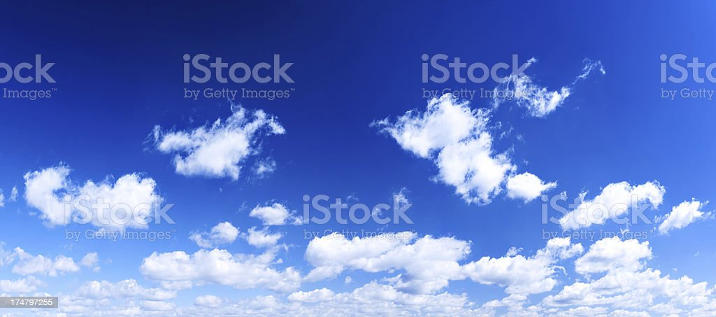 XXXL Cloudscape Panorama - Blue Sky and White Clouds royalty-free stock photo