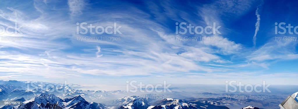 Cloudscape panorama over swiss mountains (XXL) stock photo