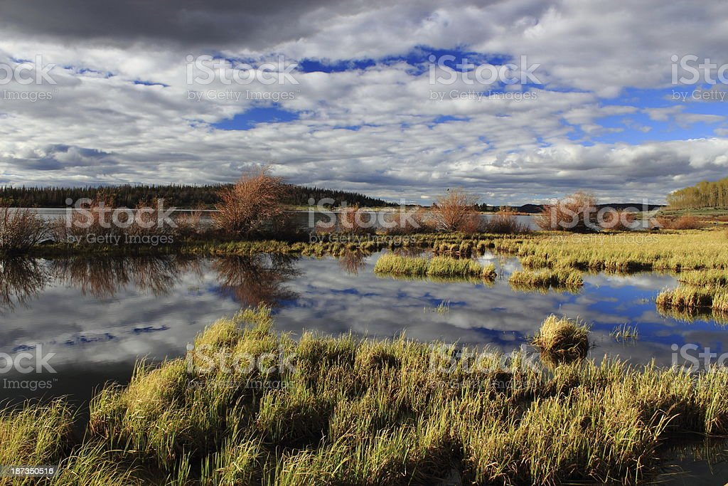 Cloudscape Reflected in Wyoming Lake stock photo