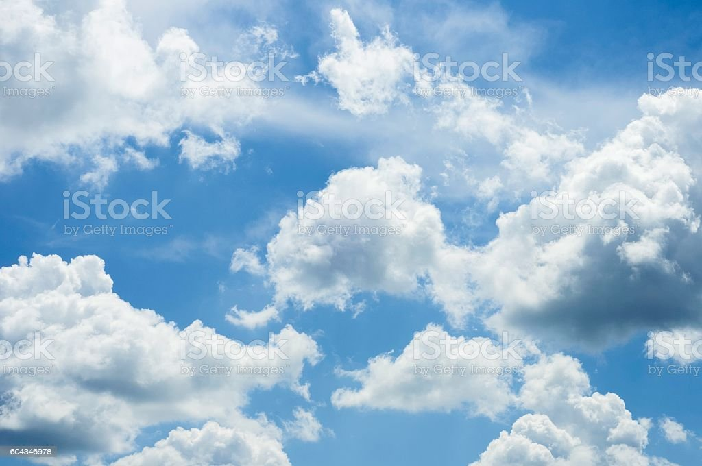 Cloudscape With Fluffy and Wispy Clouds stock photo