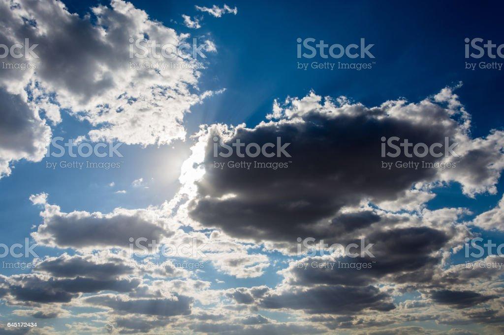 CloudsDesert landscape on a summer day.  on a blue sky. stock photo
