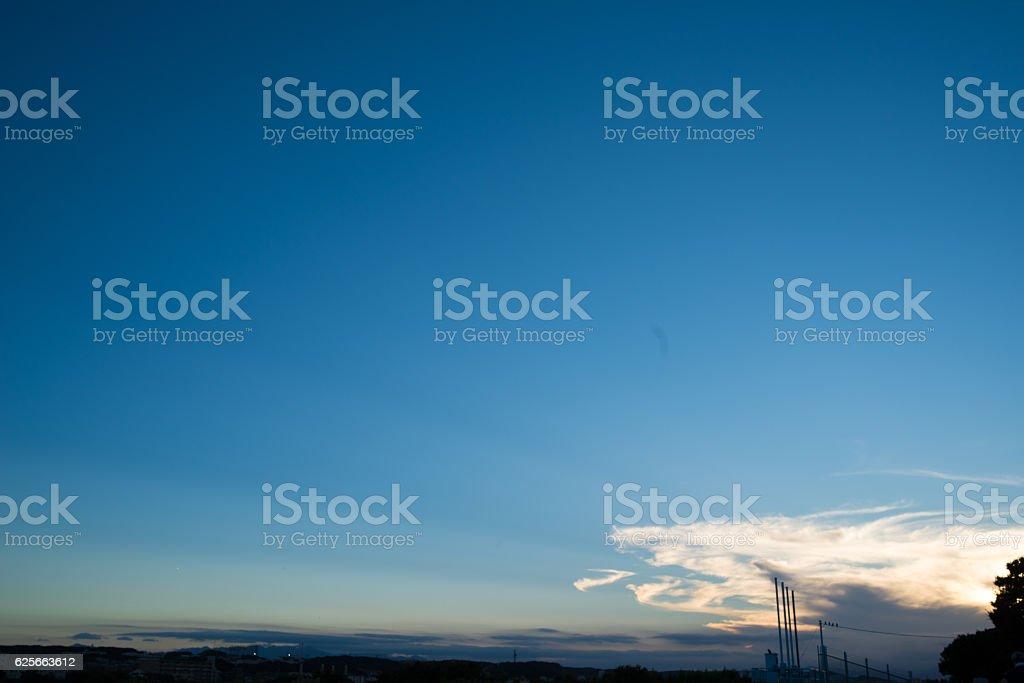 Cloud,sky, tree, weir in Japan stock photo