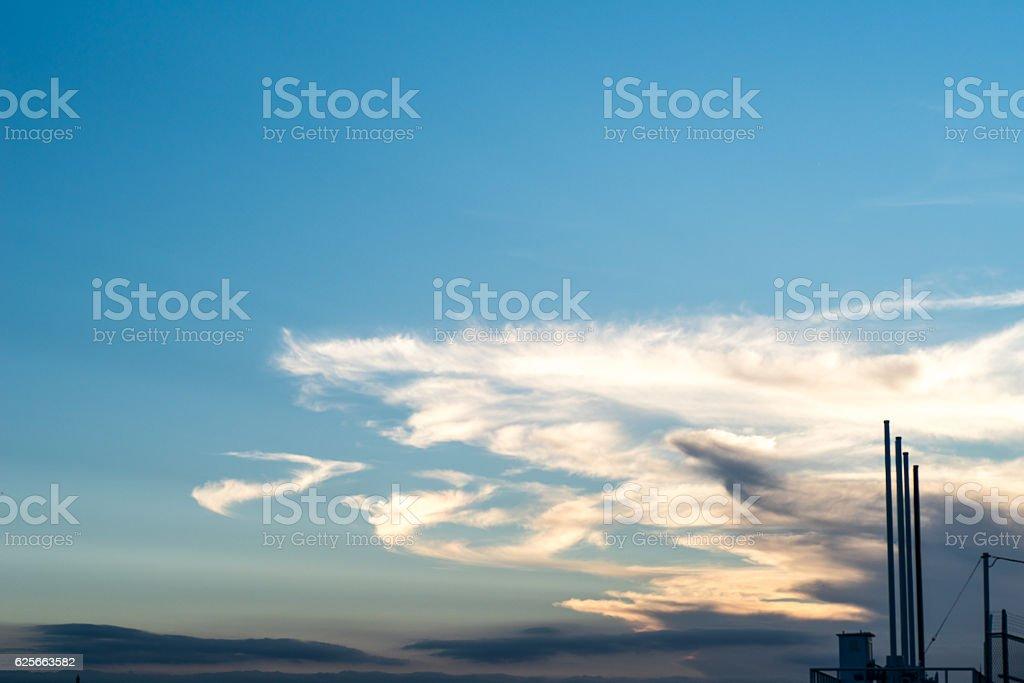 Cloud,sky, tree, weir,bird  in Japan stock photo