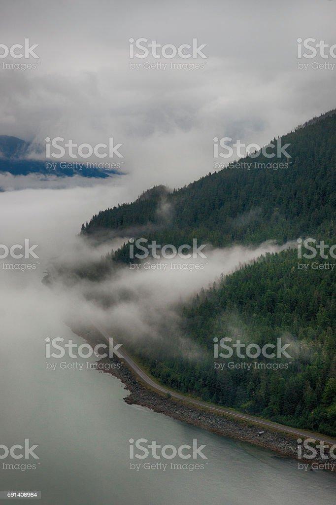 Cloudy aerial views over Douglas Island, Juneau stock photo
