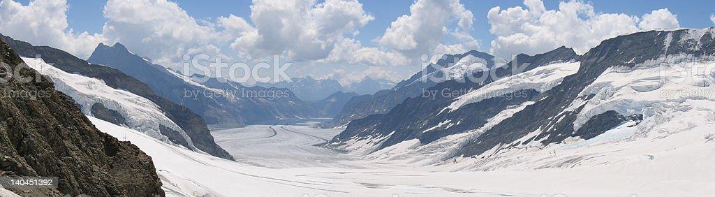 Cloudy Aletschgletscher royalty-free stock photo
