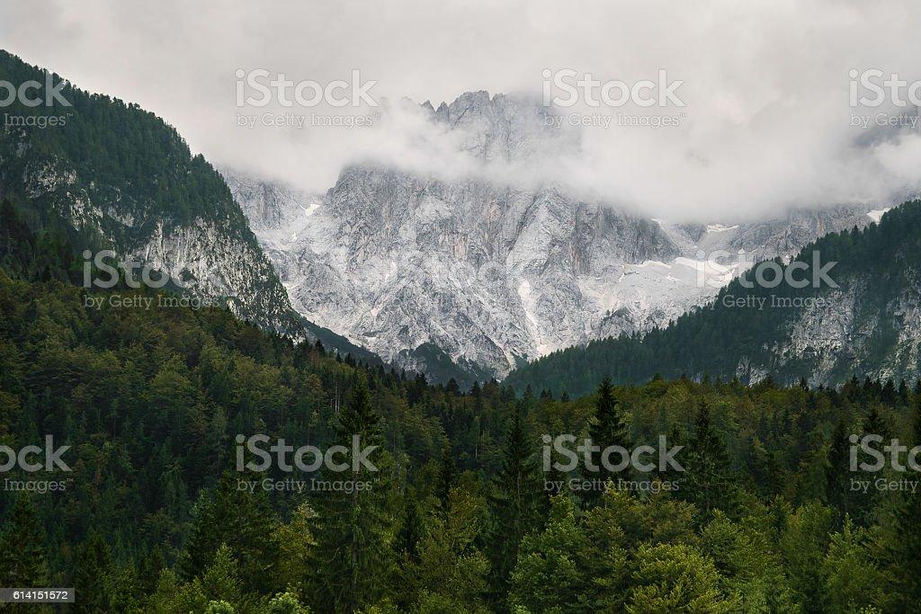 Cloudy alpine mountains in Slovenia stock photo