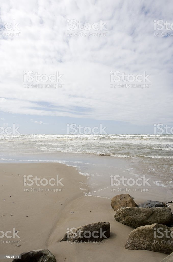 Cloudy beach stock photo