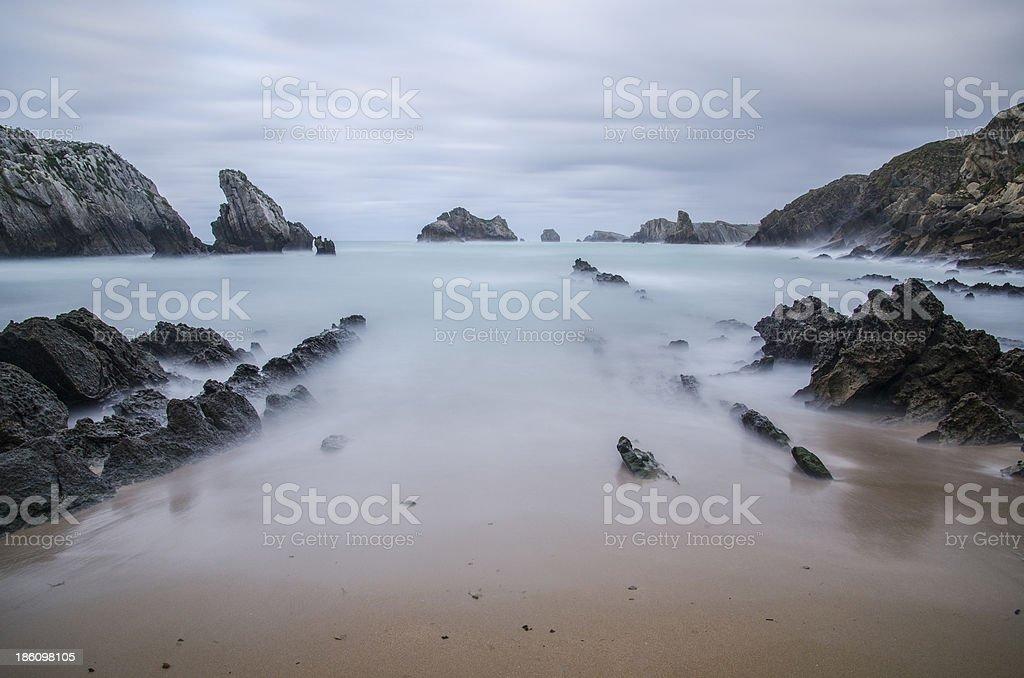 Cloudy beach royalty-free stock photo