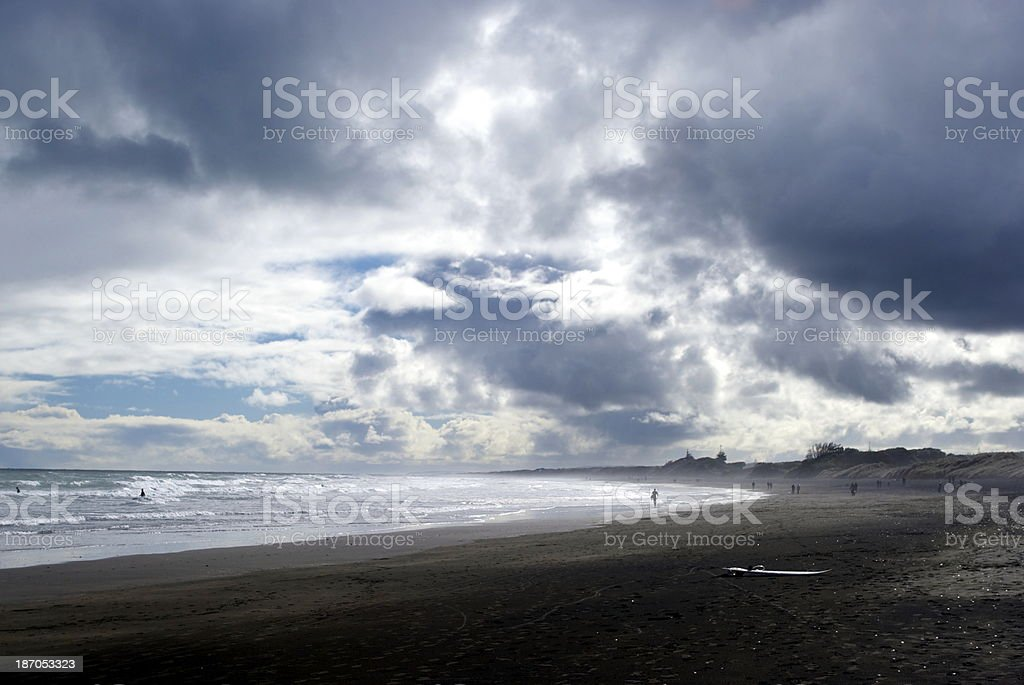 Cloudy Beachscape, Muriwai Beach, New Zealand royalty-free stock photo