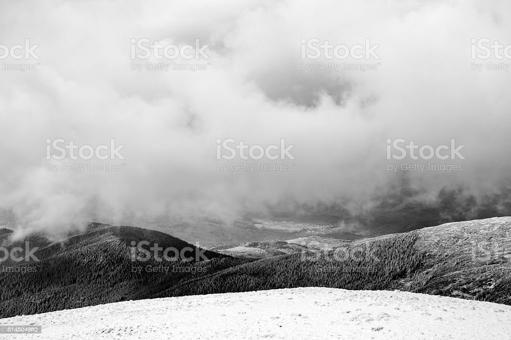 Cloudy Carpathians (B&W) stock photo