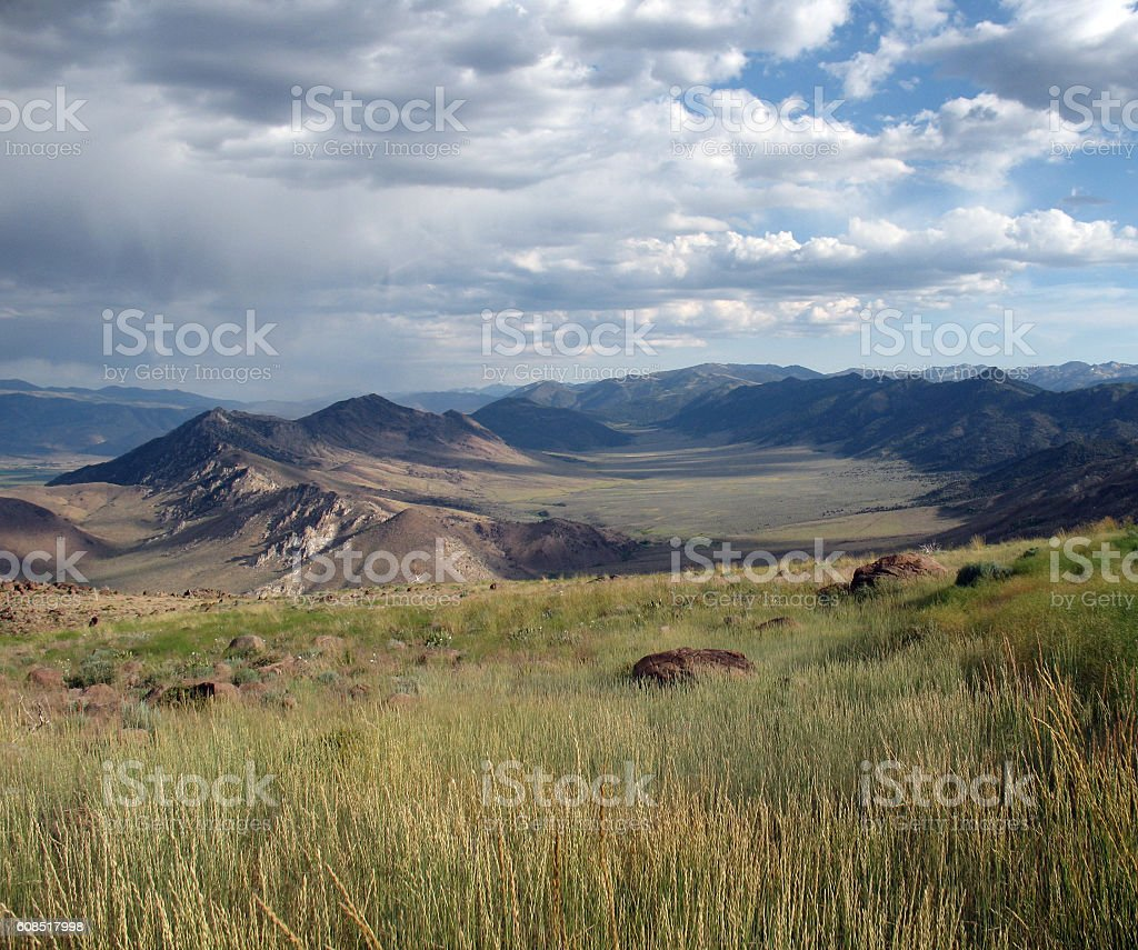 Cloudy Carson Valley stock photo