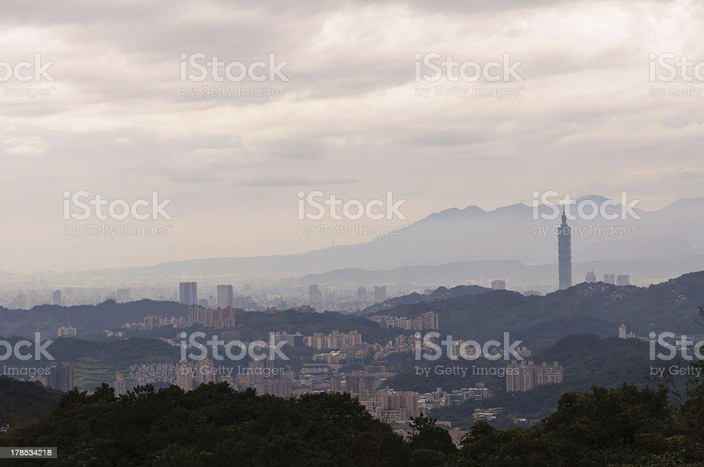 Cloudy Cityscape of Taipei, Taiwan royalty-free stock photo