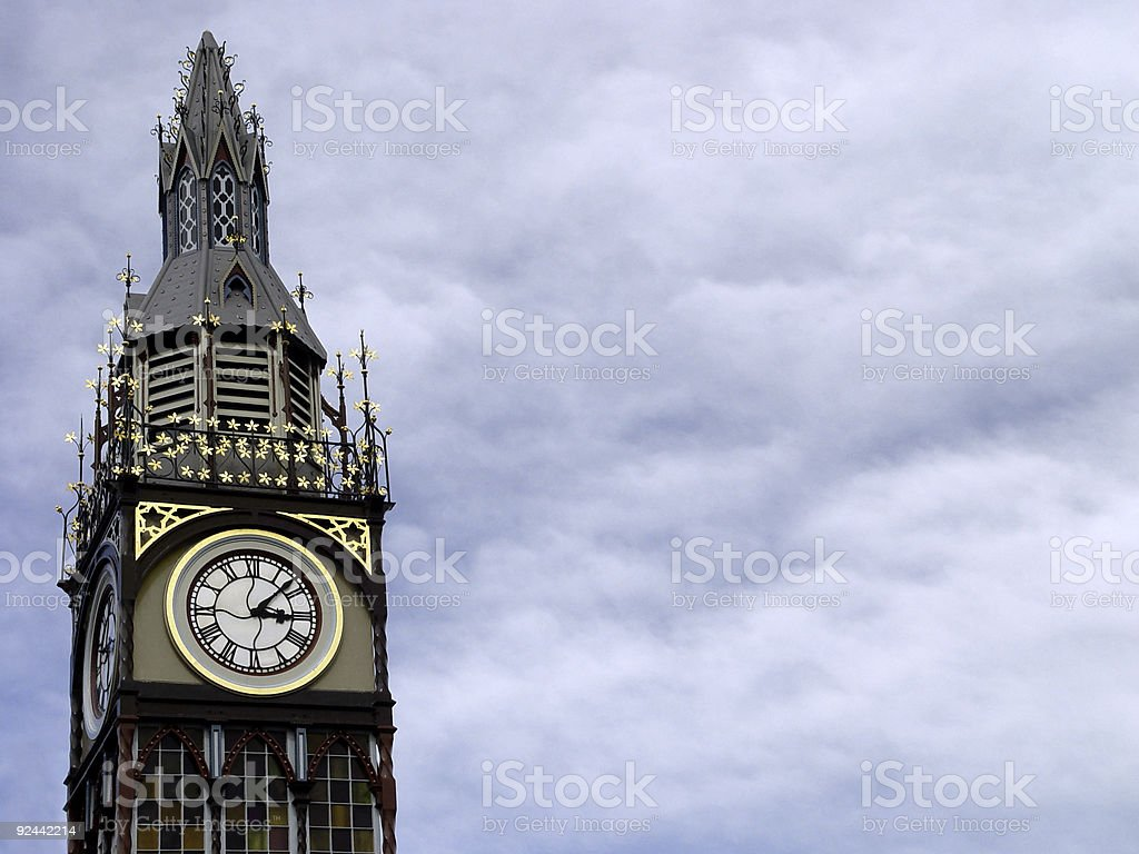 cloudy clocktower royalty-free stock photo