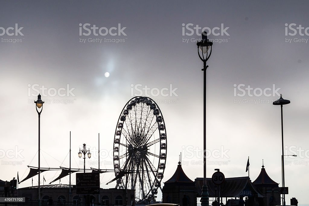 Cloudy cold morning in Brighton stock photo