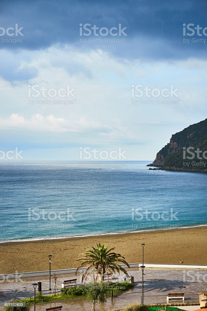cloudy day at beach in Italy stock photo