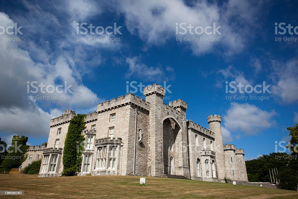 Cloudy day at Bodelwyddan Castle stock photo