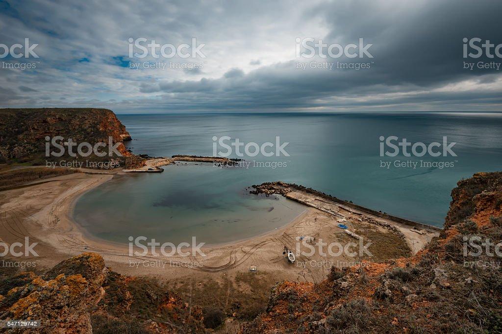 Cloudy day at Bolata bay, near Cape Kaliakra, Bulgaria. stock photo