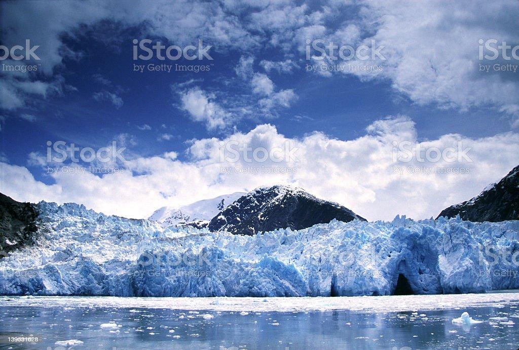 Cloudy day at Glacier in Alaska stock photo