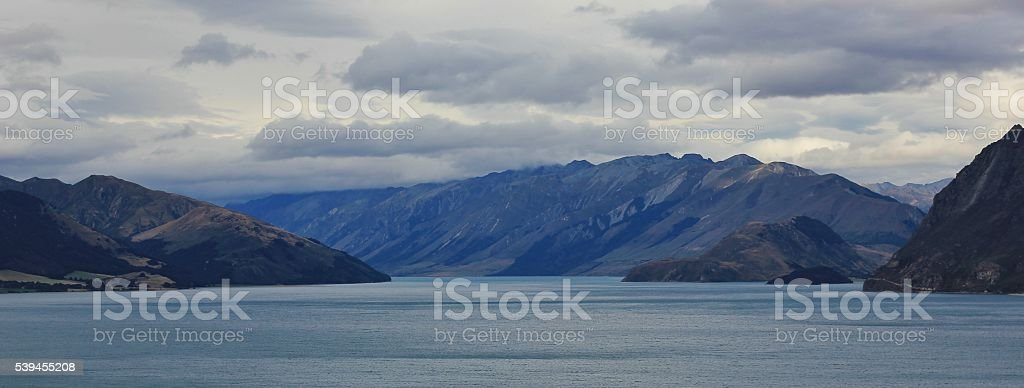 Cloudy day at Lake Hawea stock photo
