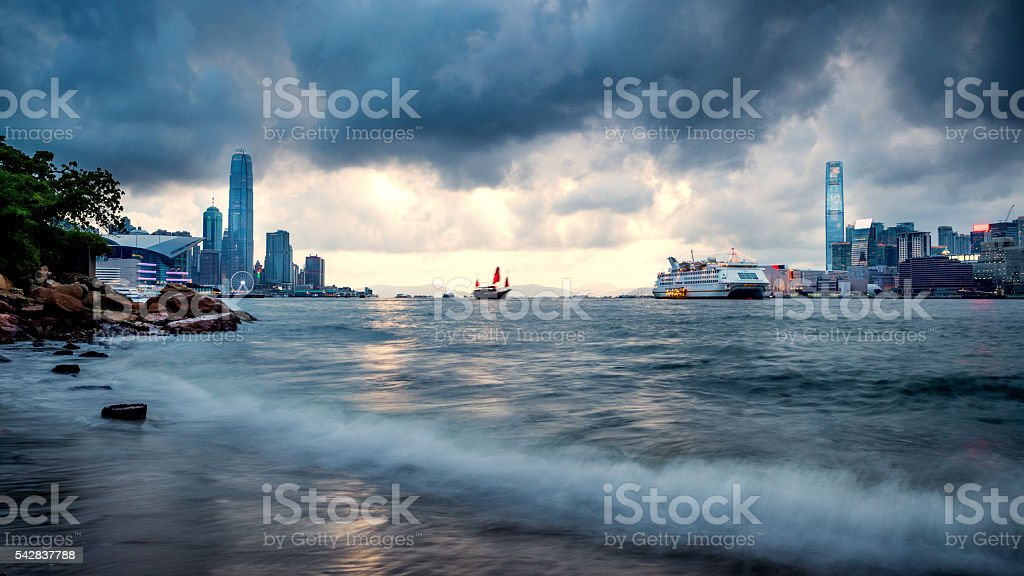 Cloudy day at Victoria Harbour of Hong Kong stock photo