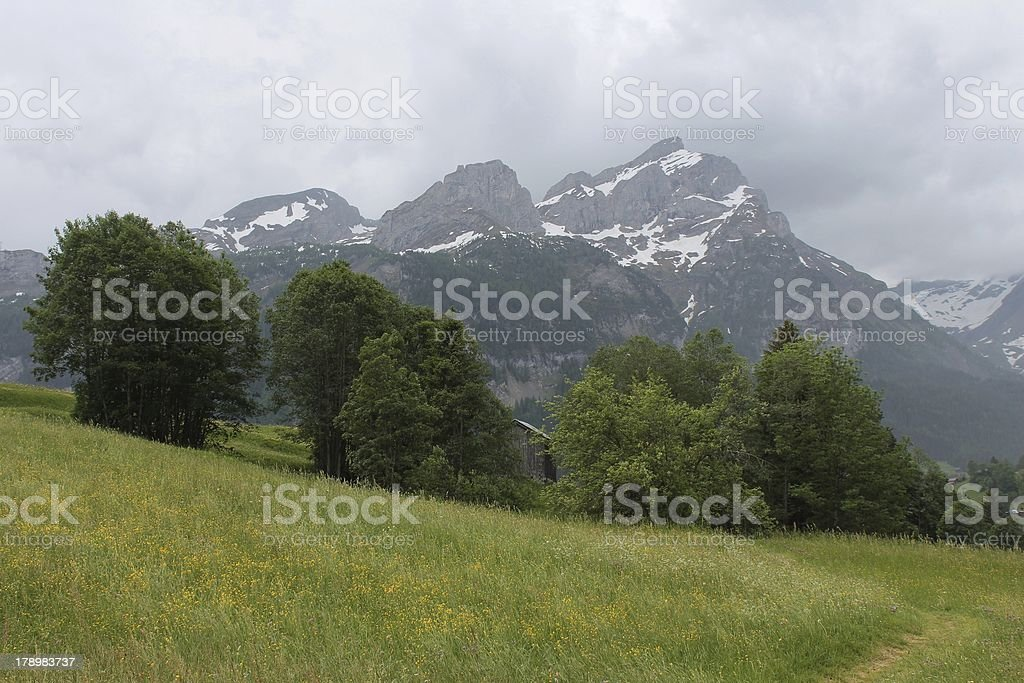 Cloudy day in Gsteig bei Gstaad royalty-free stock photo