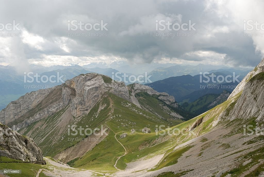 Cloudy day in Swiss alps stock photo