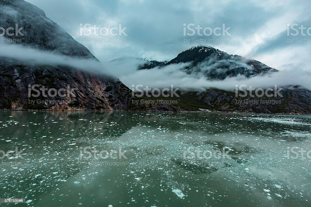Cloudy Day in the Endicott Arm Fjord stock photo