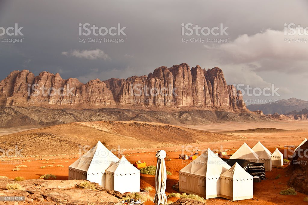 Cloudy day in Wadi Rum stock photo