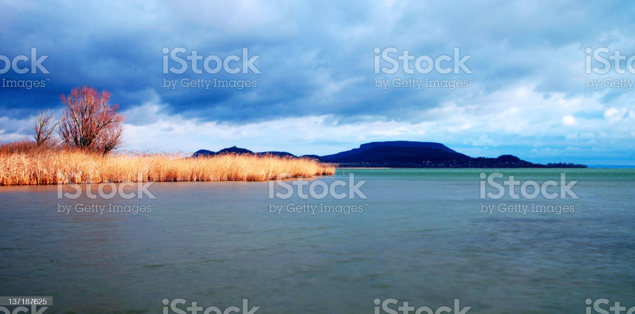 Cloudy day in winter time at Lake Balaton royalty-free stock photo