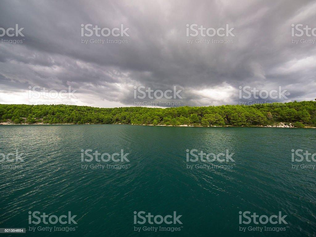 Cloudy day on Adriatic coast, Croatia stock photo