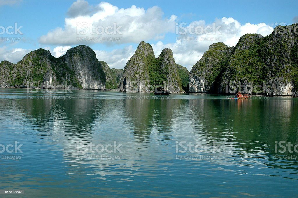 cloudy day on halong bay royalty-free stock photo
