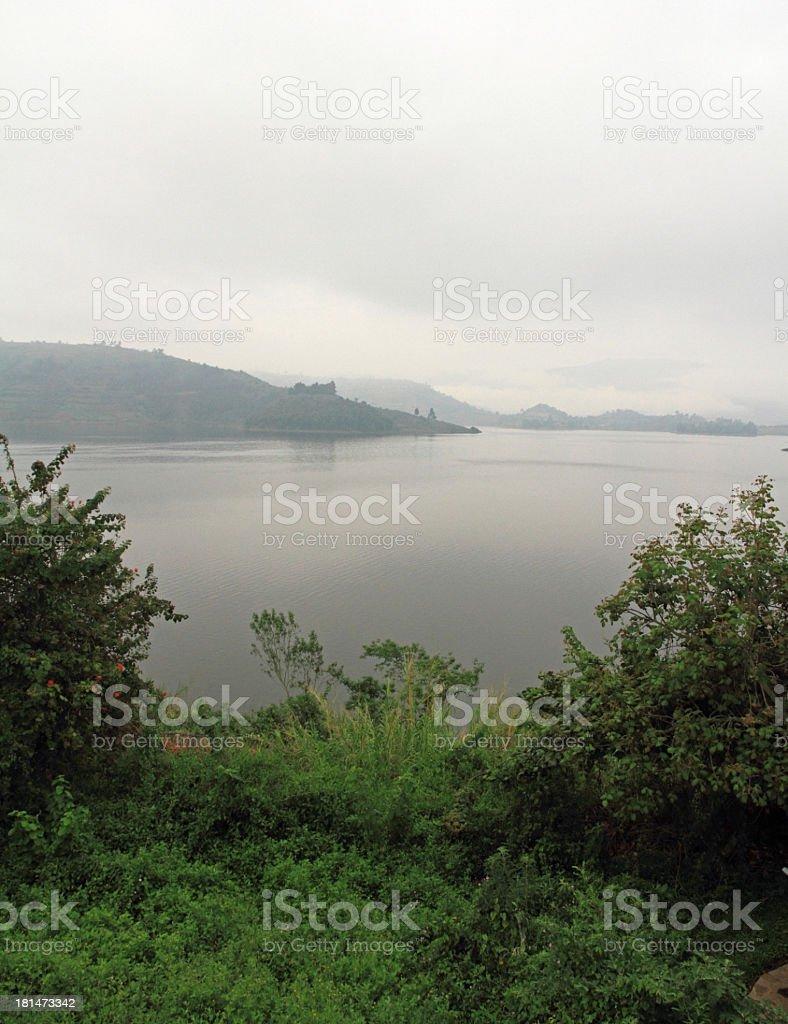 Cloudy Day on Lake Bunyoni royalty-free stock photo
