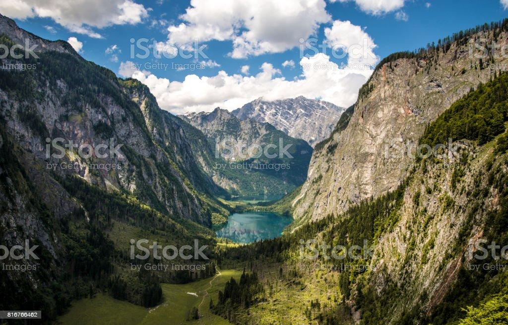 A cloudy day over Koenigssee near Berchtesgaden stock photo