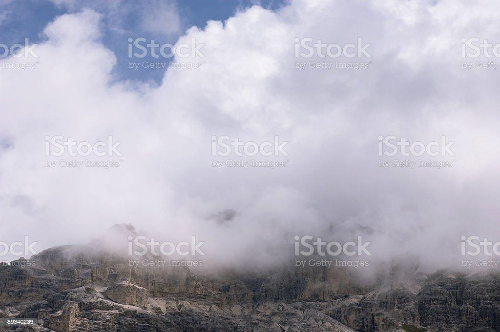 Cloudy Dolomite Summits stock photo