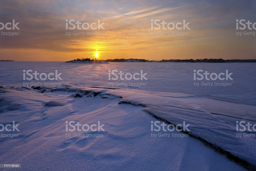 Cloudy dusk in winter morning royalty-free stock photo