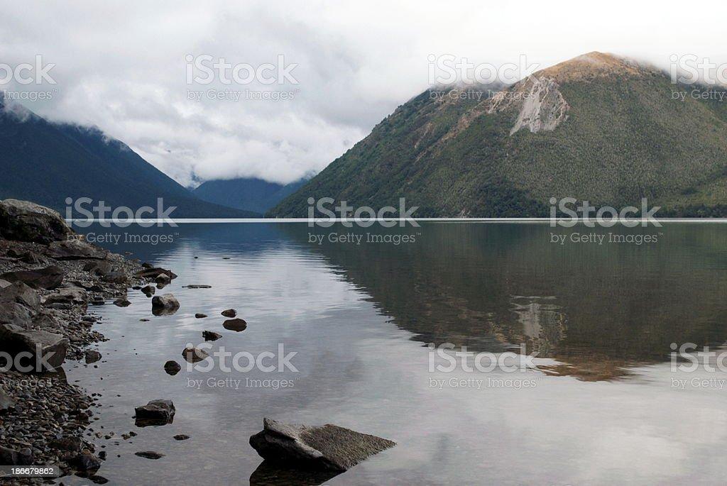 Cloudy Evening on Lake Rotoiti, Nelson Lakes National Park, NZ royalty-free stock photo