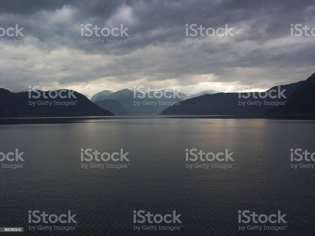 Cloudy fiords royalty-free stock photo