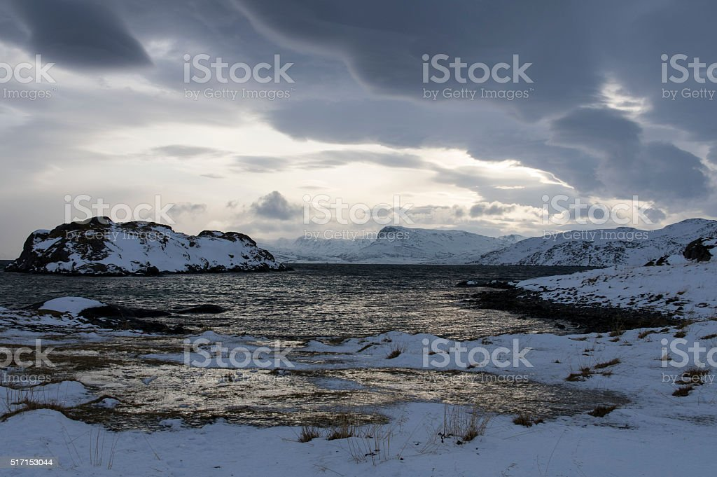 Cloudy Fjords stock photo