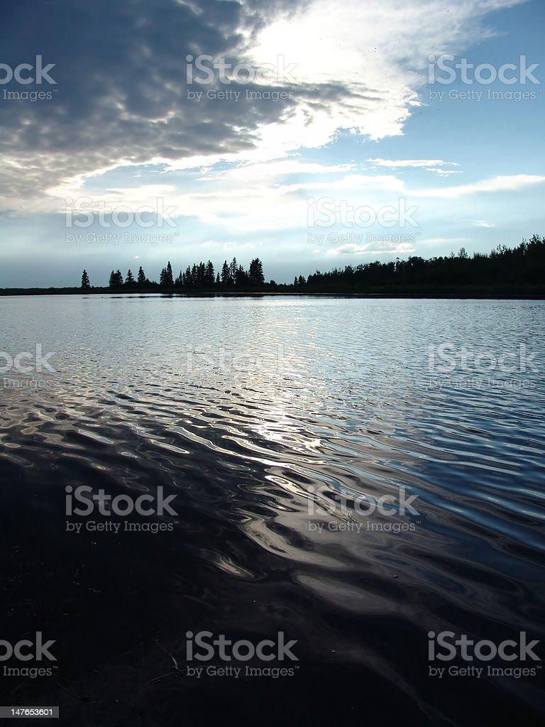 Cloudy Lake stock photo