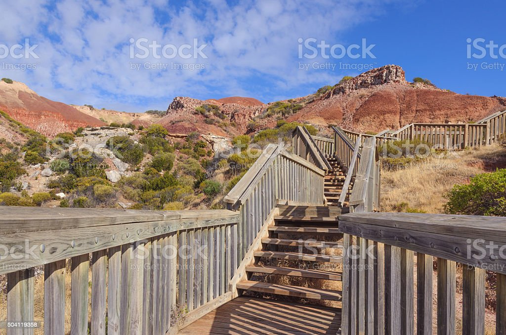 Cloudy landscape with scenic cliffs stock photo