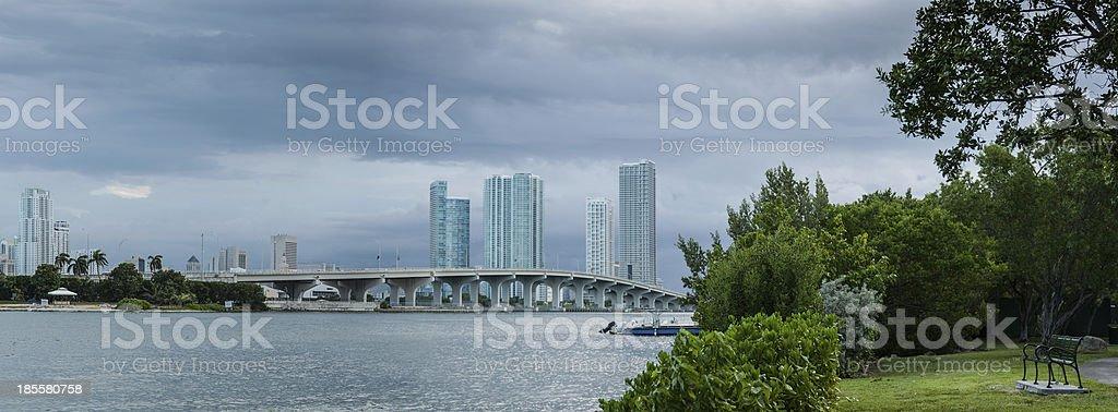 Cloudy Miami stock photo