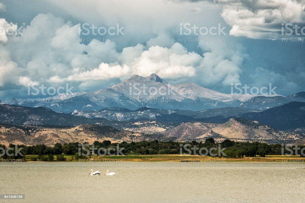 Cloudy Morning over Longs peak stock photo